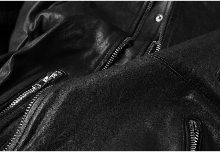 Men's Autumn Genuine Leather Slim Fit Motorcycle Jacket