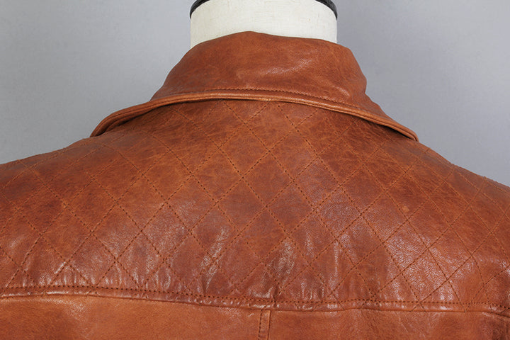 Men's Spring/Autumn Genuine Leather Motorcycle Slim Fit Jacket