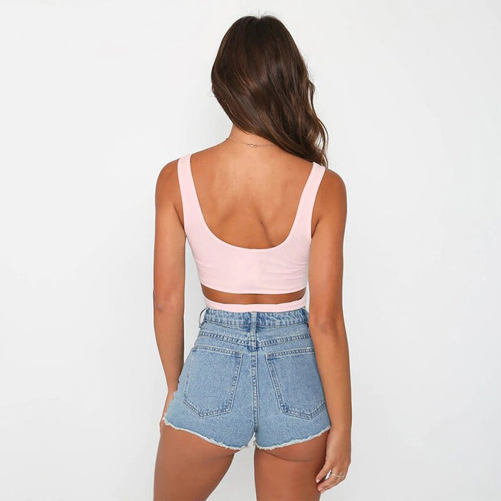 Women's Summer Cotton Wrap Stretch Lace-Up Crop Top With Bow