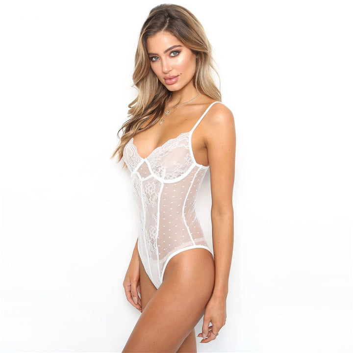 Women's Summer Sleeveless V-Neck Lace Bodysuit