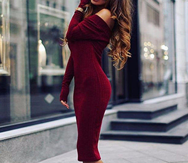 Dress – Fashionable Off Shoulder Long Sleeved Dress | Zorket