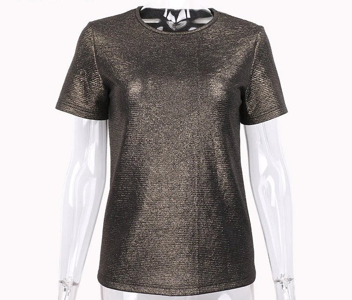 Women's Summer Elastic Shiny Lurex O-Neck Cotton T-Shirt