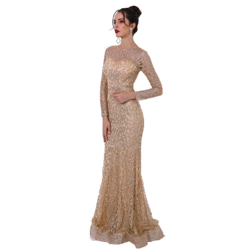 Women's Glitter O-Neck Long Sleeve Maxi Dress