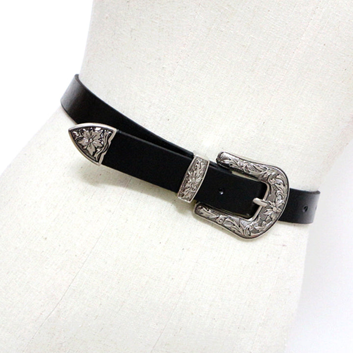 Vintage Metal Pin Buckle Leather Belt For Women - Zorket