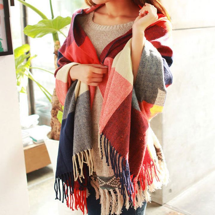 Women's Autumn/Winter Warm Cashmere Wool Plaid Blanket Scarf