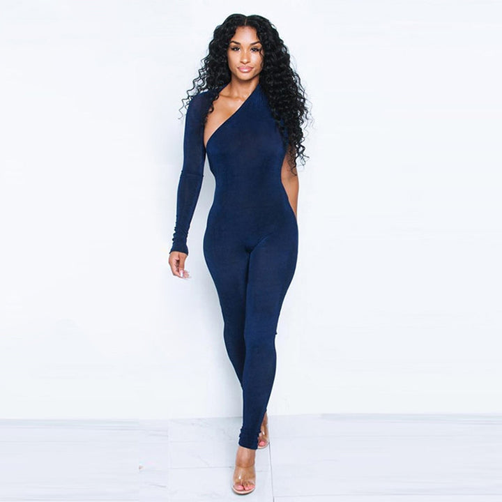 Women's Summer One-Shoulder Skinny Fitness Bodysuit