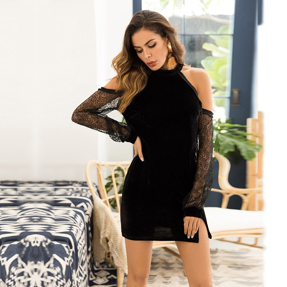 Women's Autumn Velvet Lace-Shoulder Evening Dress
