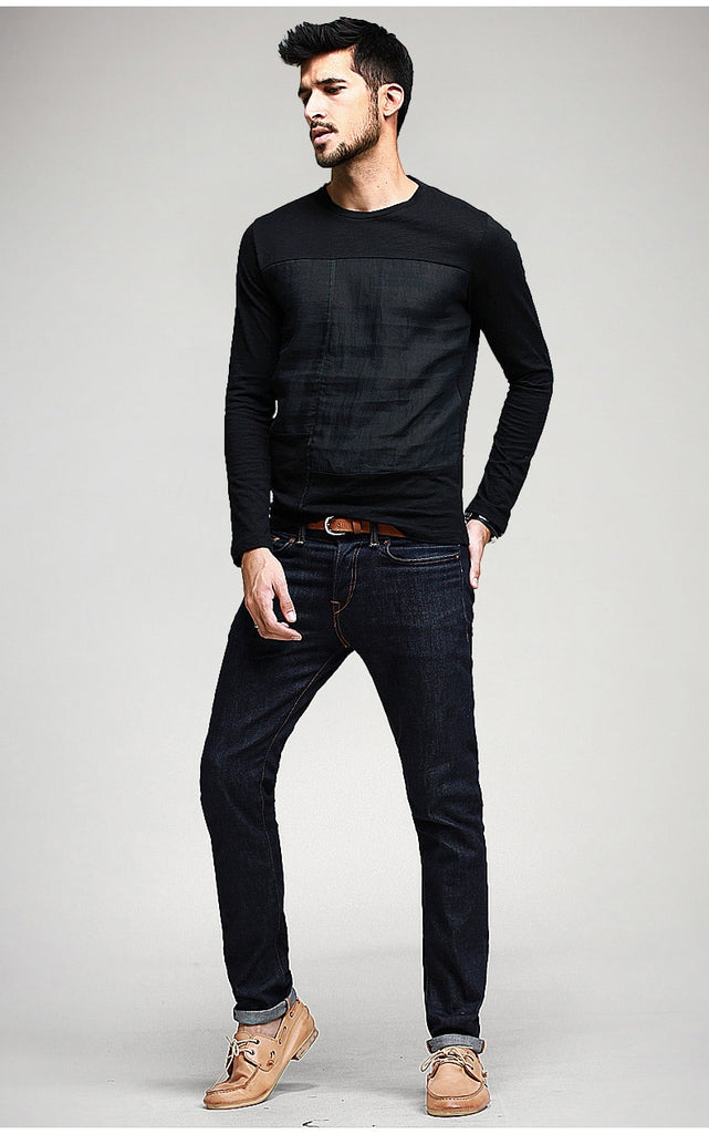 Men's Spring Casual Patchwork Long-Sleeved T-Shirt
