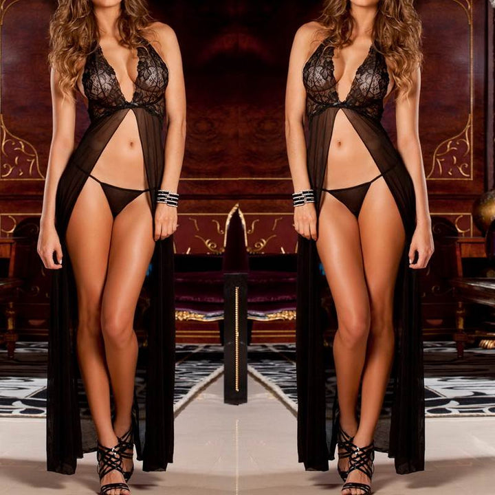 Women's Nightgown | V-Neck Lace Lingerie with G-strings