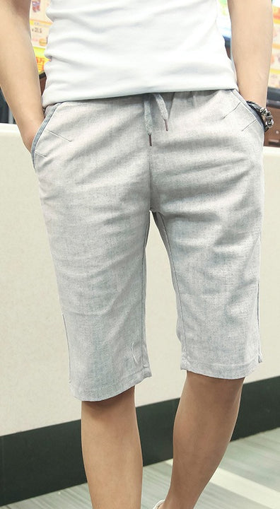 Men's Summer Linen Elastic Waist Board Shorts