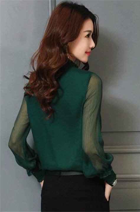 Women's Summer Long-Sleeved Stand Neck Chiffon Blouse