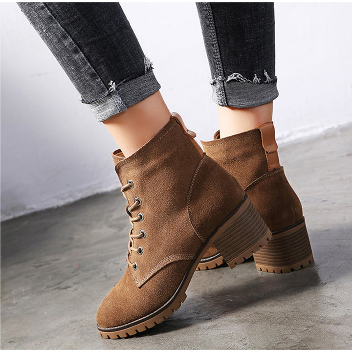 Women's Autumn/Winter Slip-On Genuine Leather Ankle Boots