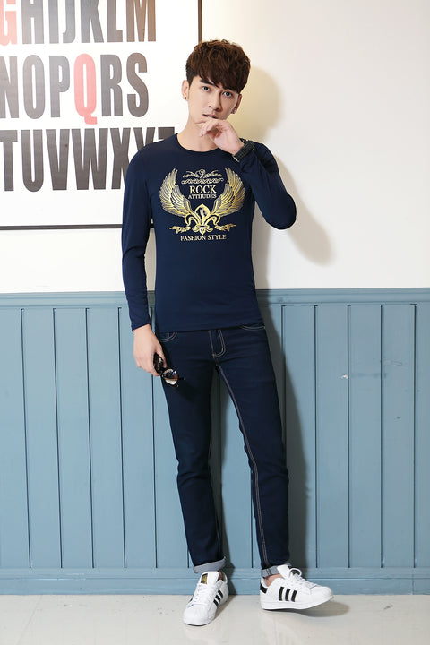 Men's Spring/Autumn O-Neck Long-Sleeved Slim Fit T-Shirt