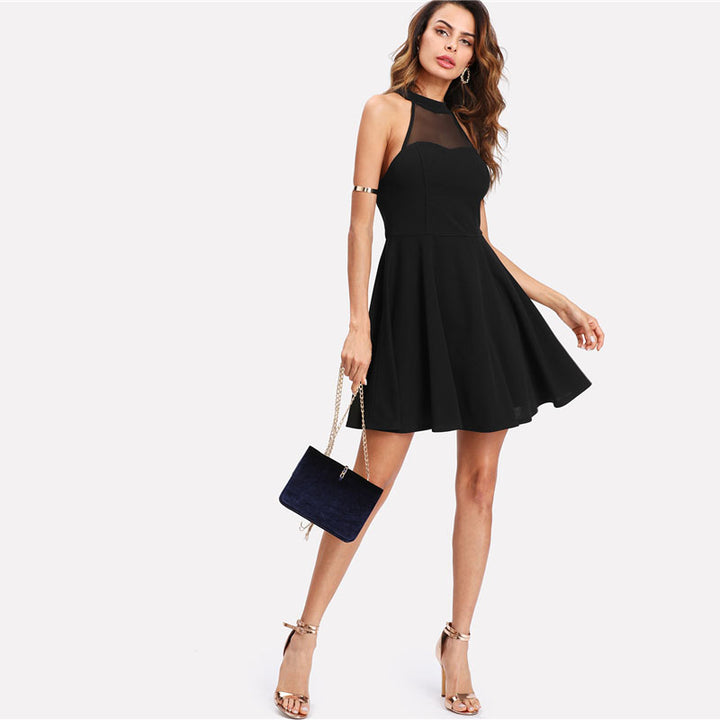 Women's Summer Open-Back Sleeveless A-Line Short Dress