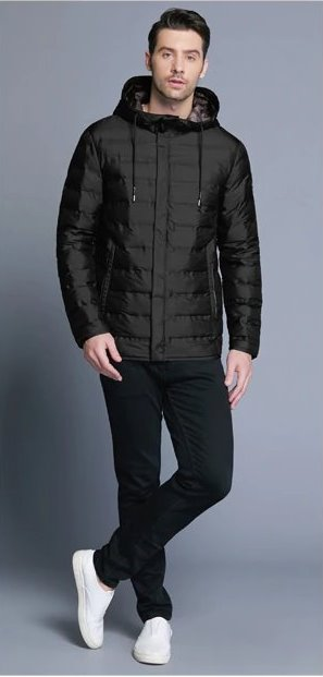 Men's Winter Casual Warm Hooded Short Jacket