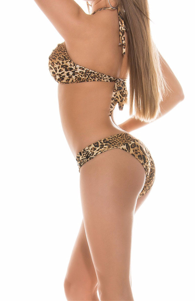 Strappy Women's Bikini Set With Leopard Pattern - Zorket