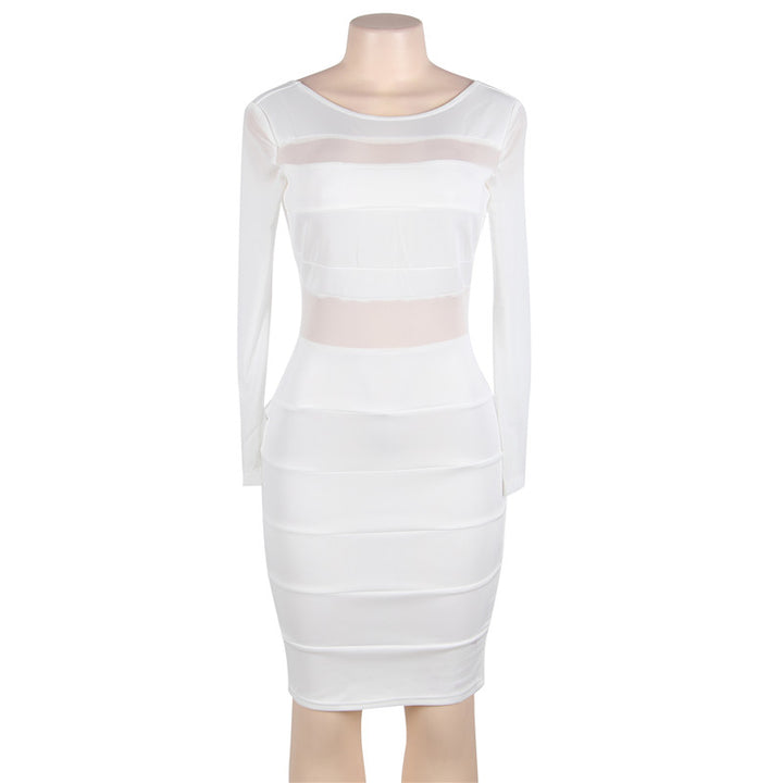 Women's Spring/Autumn Bandage Long-Sleeved Patchwork Midi Dress