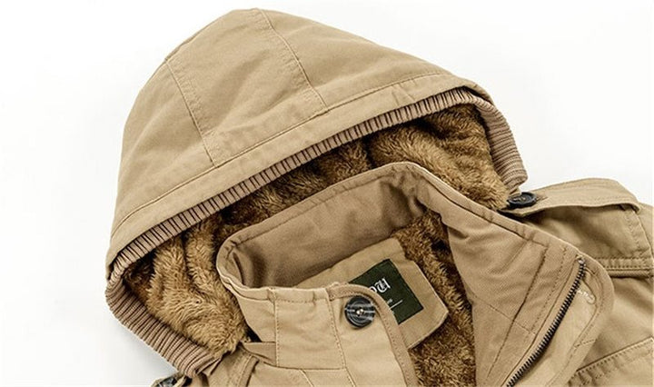 Men's Winter Casual Warm Fleece Hooded Parka