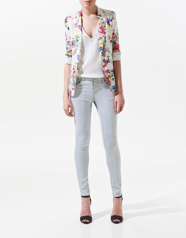 Blazer – Floral Print Single Button Blazer | Zorket