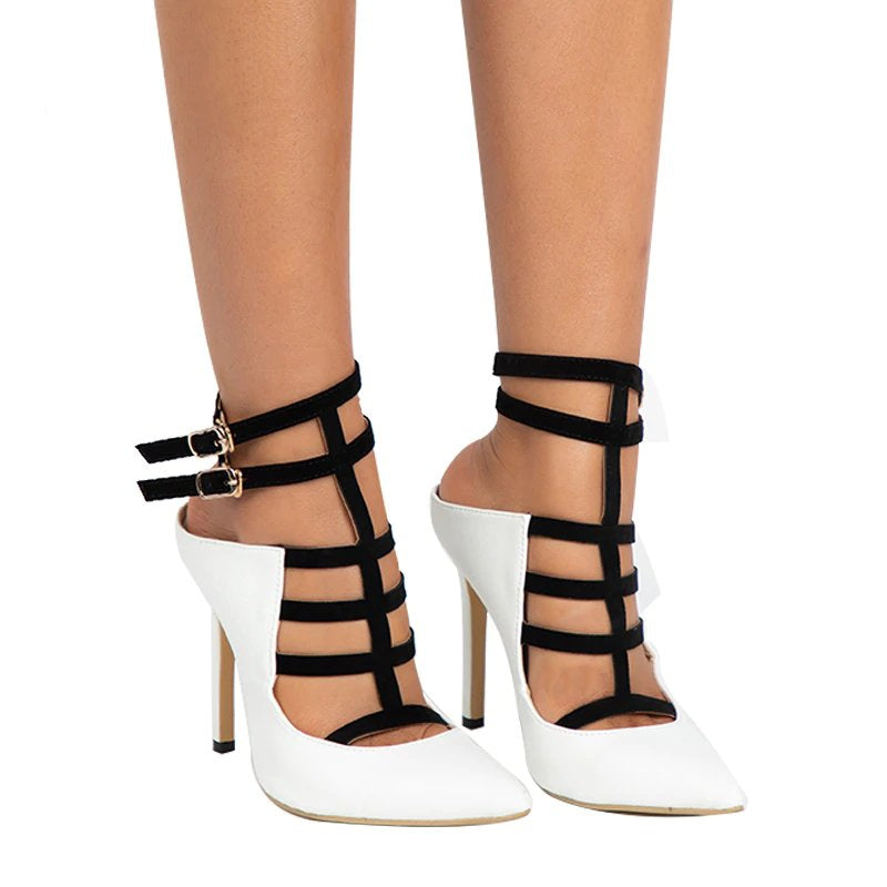 Women's Summer PU Leather Gladiator High-Heeled Pumps With Buckles