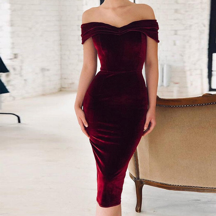 Women's Spring Velvet Slim Sheath Off-Shoulder Dress