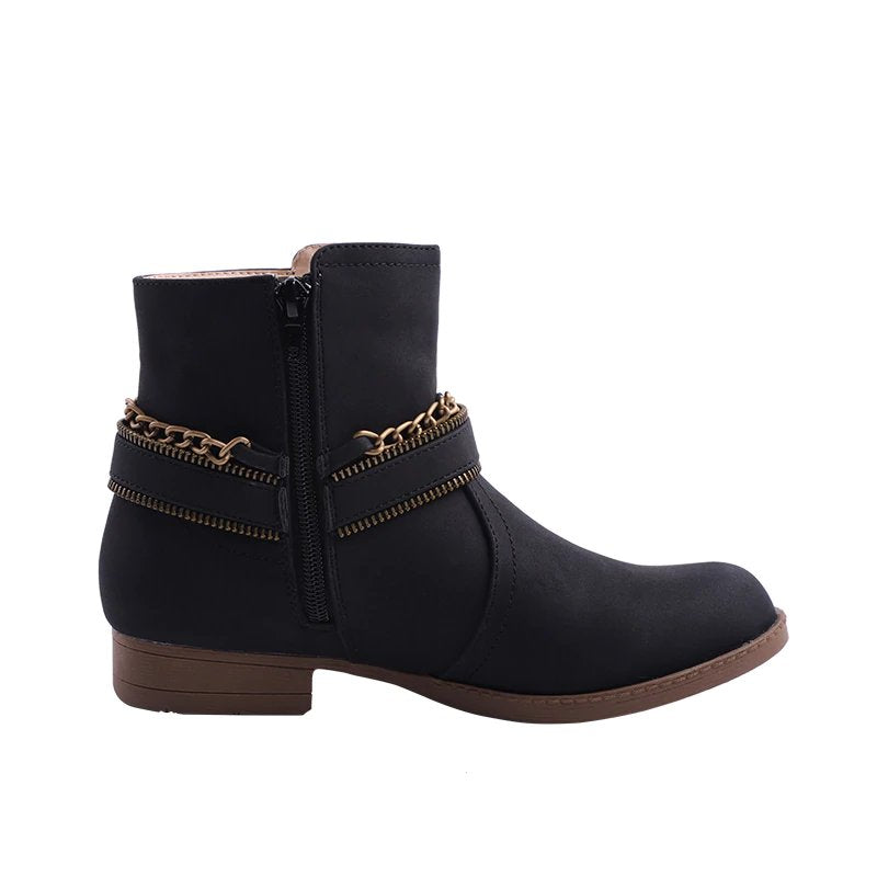 Women's Winter PU Leather Ankle Boots With Decorative Buckles