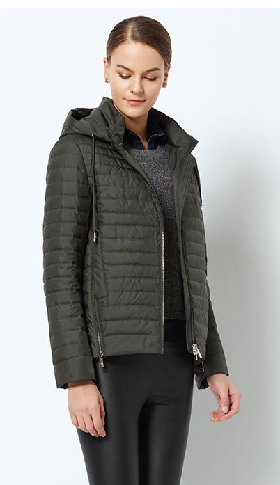 Women's Spring Windproof Thin Cotton-Padded Jacket With Hood