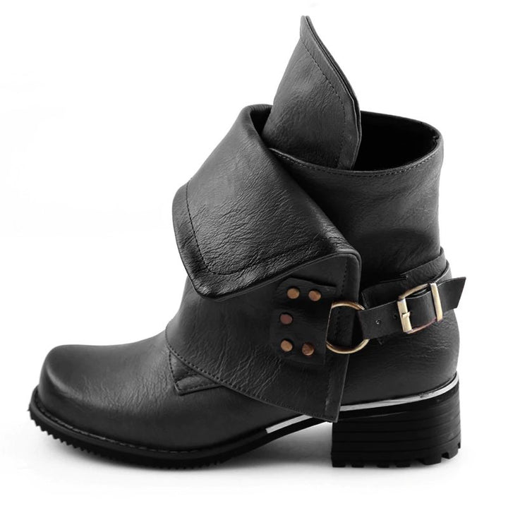 Women's Spring PU Leather Ankle Boots With Buckles