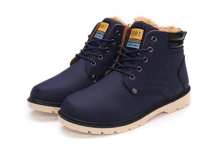 Men's Winter Warm Waterproof PU Leather Ankle Snow Boots