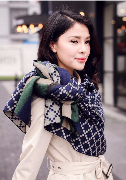 Winter Women's Scarves Cashmere Plaid Scarf - Zorket