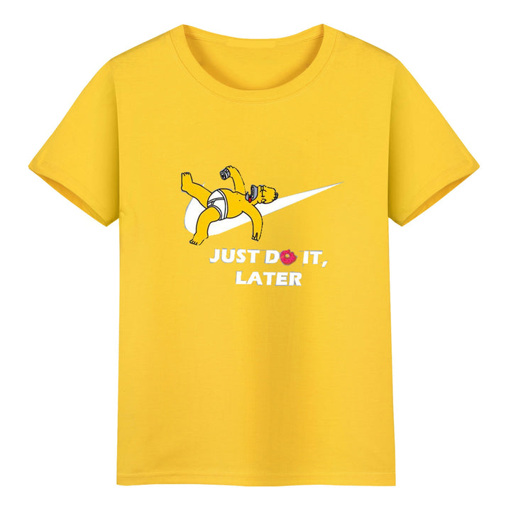 "Men's Summer Cotton O-Neck T-Shirt With ""Just Do It Later"" Printing"