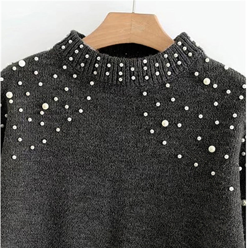 Women's Autumn/Winter Bishop-Sleeved Crop Pullover With Pearl Beading
