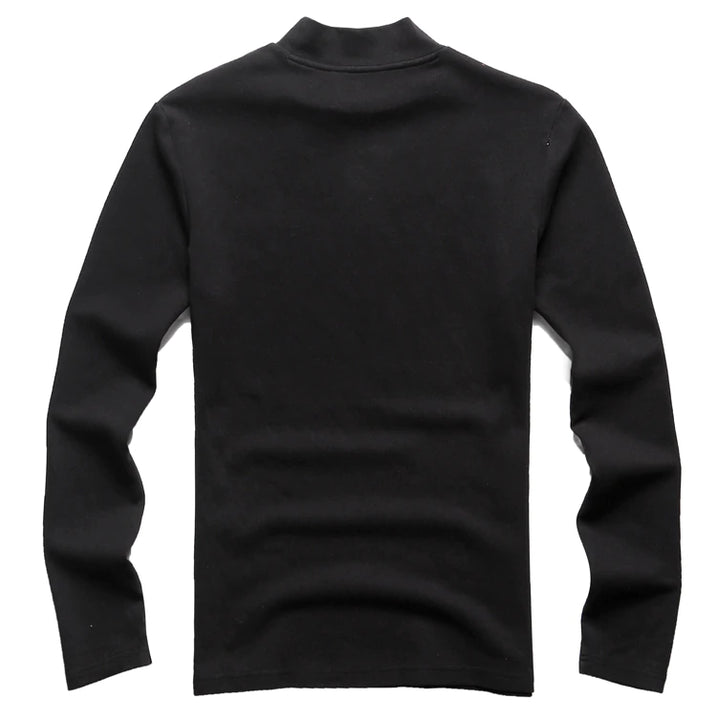 Men's Winter Cotton Elasticed Turtleneck Long Sleeve T-Shirt
