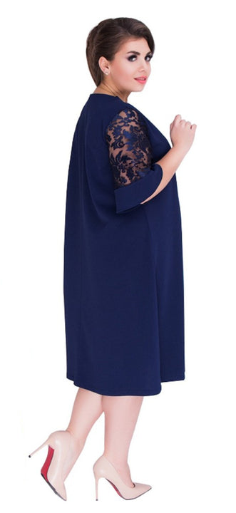 Women's Summer/Autumn Loose Midi Dress With Lace Sleeves