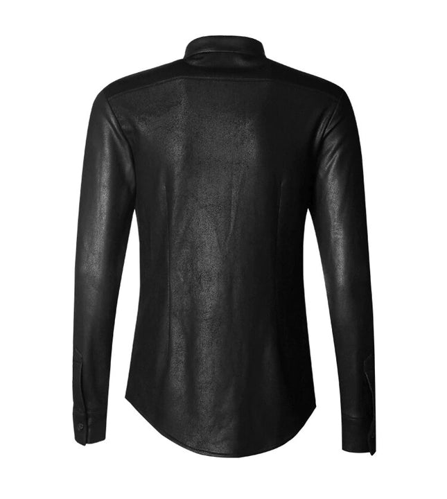 Men's Autumn/Winter Retro Elastic Cotton Long-Sleeved Slim Shirt