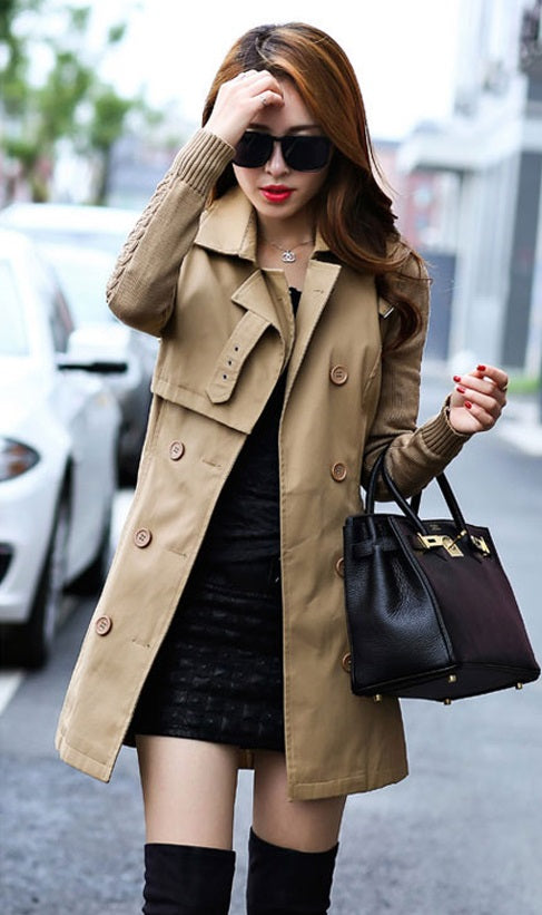 Women's Autumn Trench Coat With Knitted Sleeves