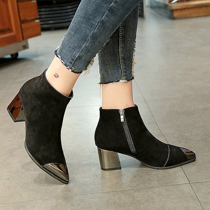 Women's Autumn Flock Leather Square-Heeled Ankle Boots