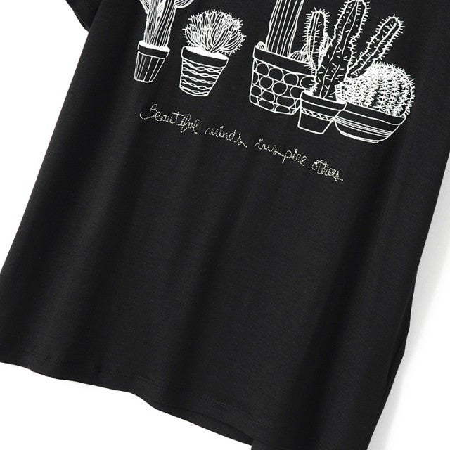 Stylish Women's T-Shirt Of Cotton With Cactus & Short-Sleeved - Zorket