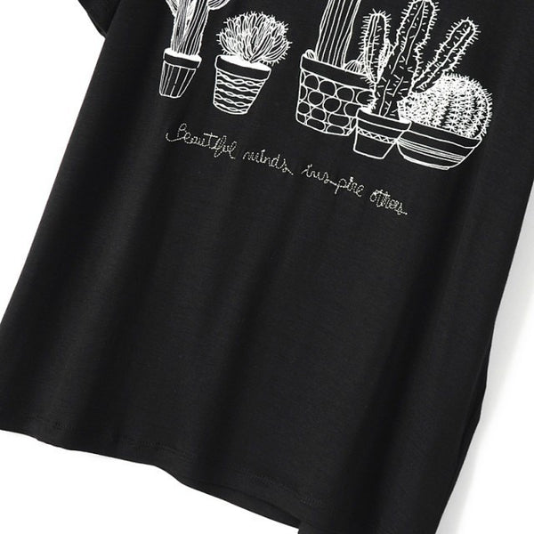 T-Shirt – Stylish Women's T-Shirt Of Cotton With Cactus & Short-Sleeved | Zorket