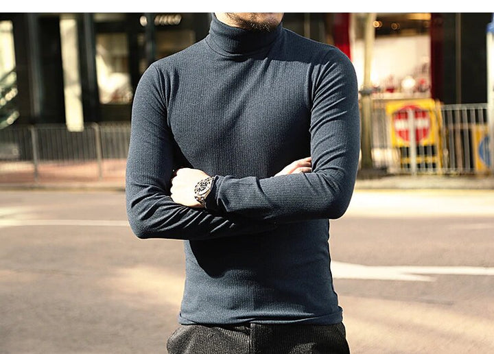 Men's Spring/Autumn Basic Cotton Stretch Slim Long-Sleeved T-Shirt