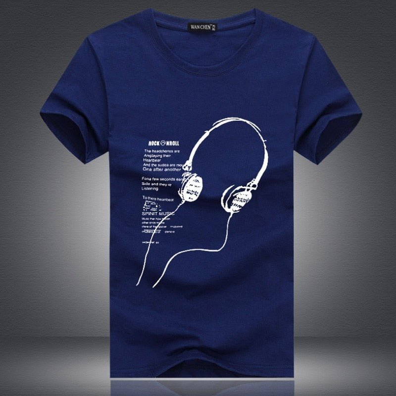 Men's Summer Casual Cotton O-Neck T-Shirt With Printed Earphones