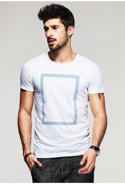Men's Summer Cotton Short-Sleeved T-Shirt With Printed Square