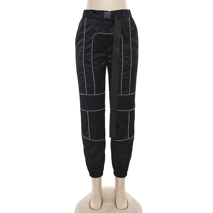 Women's Spring/Autumn Patchwork Cargo Pants With Reflective Stripes