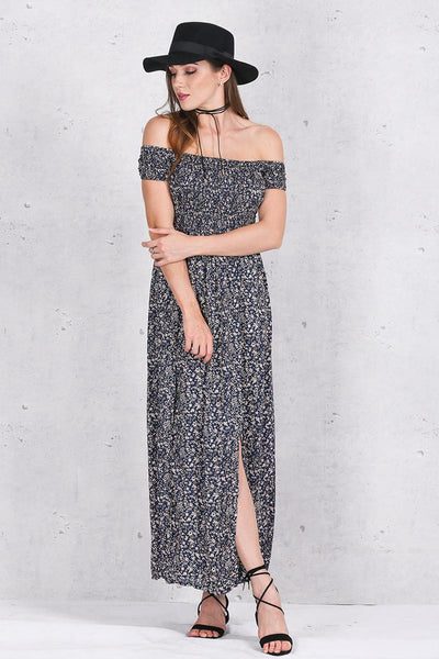 Dress – Women's Side Split Off Shoulder Print Summer Dress | Zorket