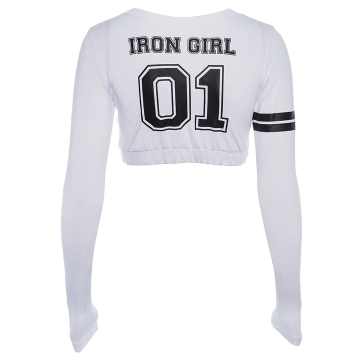Women's Spring Long-Sleeved O-Neck Cropped T-Shirt
