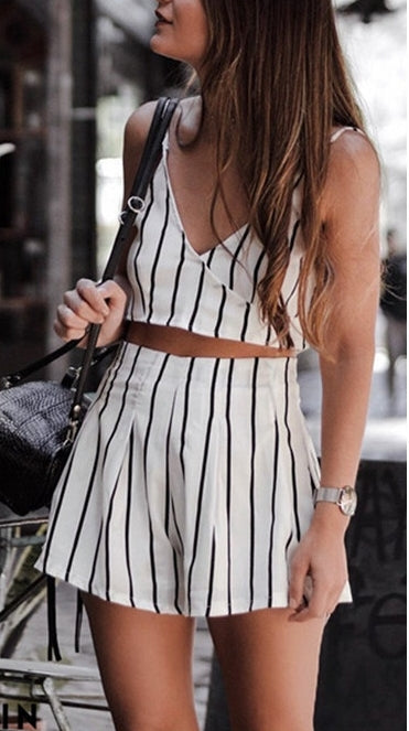 Women's Summer Striped V-Neck Open Back Two-Piece Set