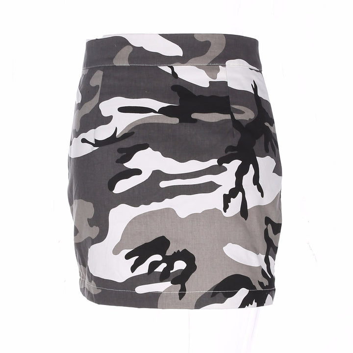 Women's Summer Denim High-Waist Camouflage Mini Skirt