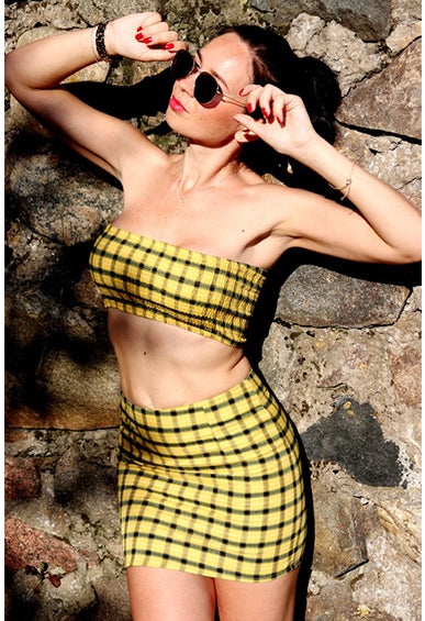 Women's Summer Plaid Shirred Strapless Two-Piece Dress | Ladies Crop Top And Skirt Set