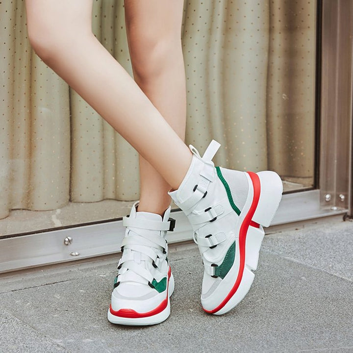 Women's Spring/Autumn PU Leather Ankle Sneakers With Buckles