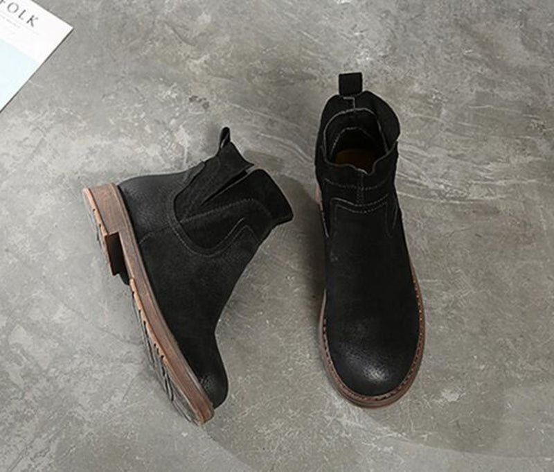Women's Winter Warm Genuine Leather Ankle Chelsea Boots